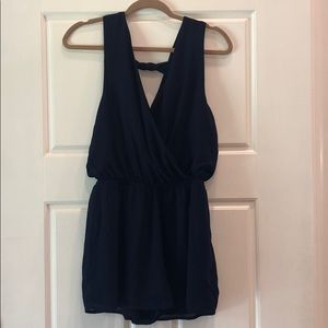Navy Romper with Twist Back
